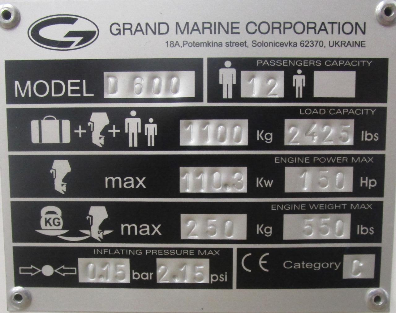 GRAND DRIVE D600 RIB CE plate