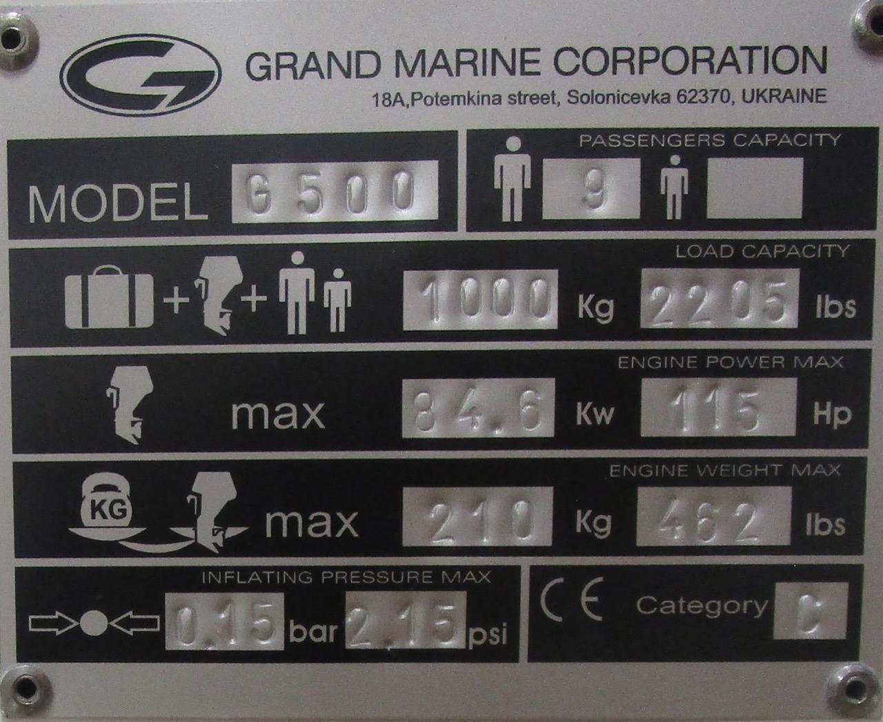 GRAND G500 RIB CE plate