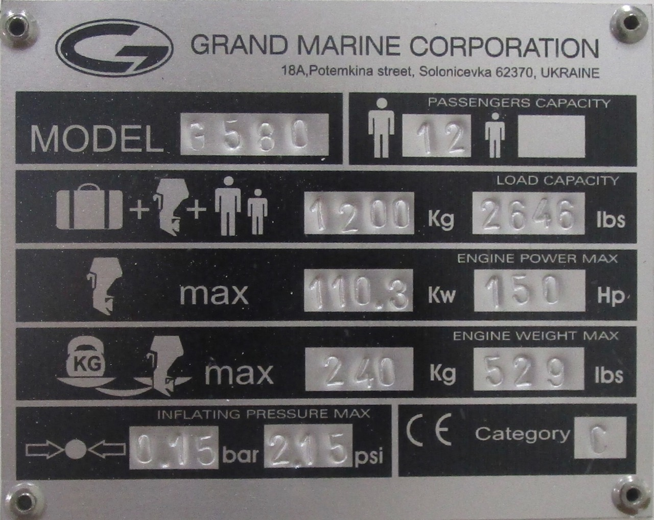 GRAND Golden Line G580 RIB CE Plate
