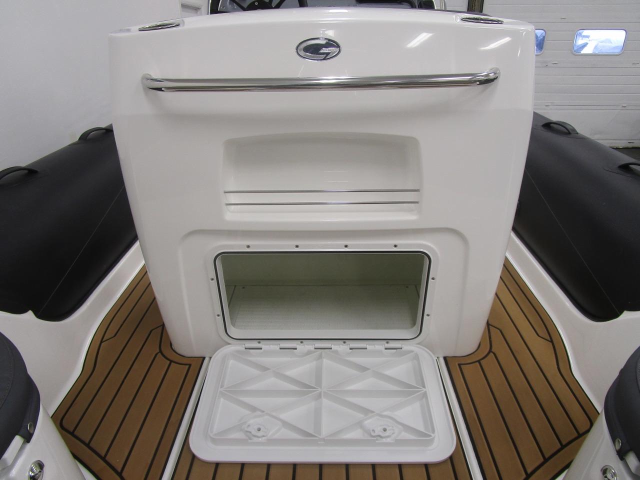 Grand RIB Golden Line G650 rear of helm seat locker open