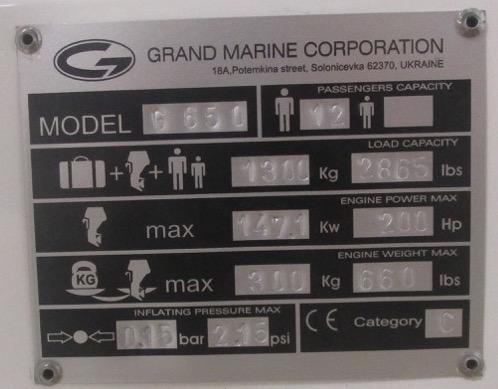 Grand RIB Golden Line G650 CE plate