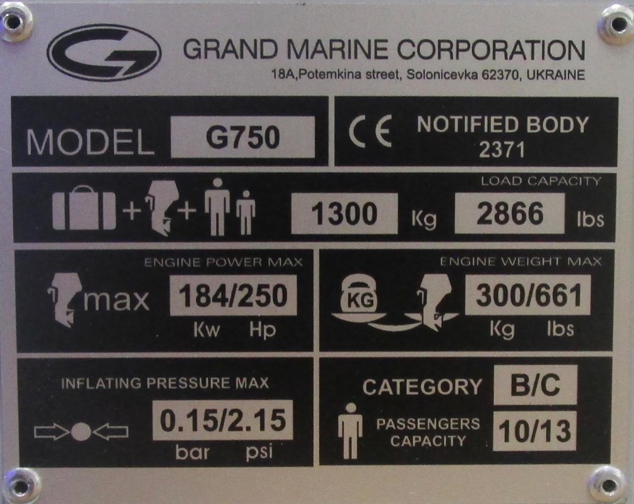 GRAND G750 RIB CE plate