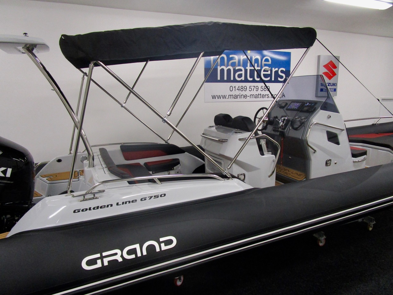 GRAND G750 RIB bimini deployed
