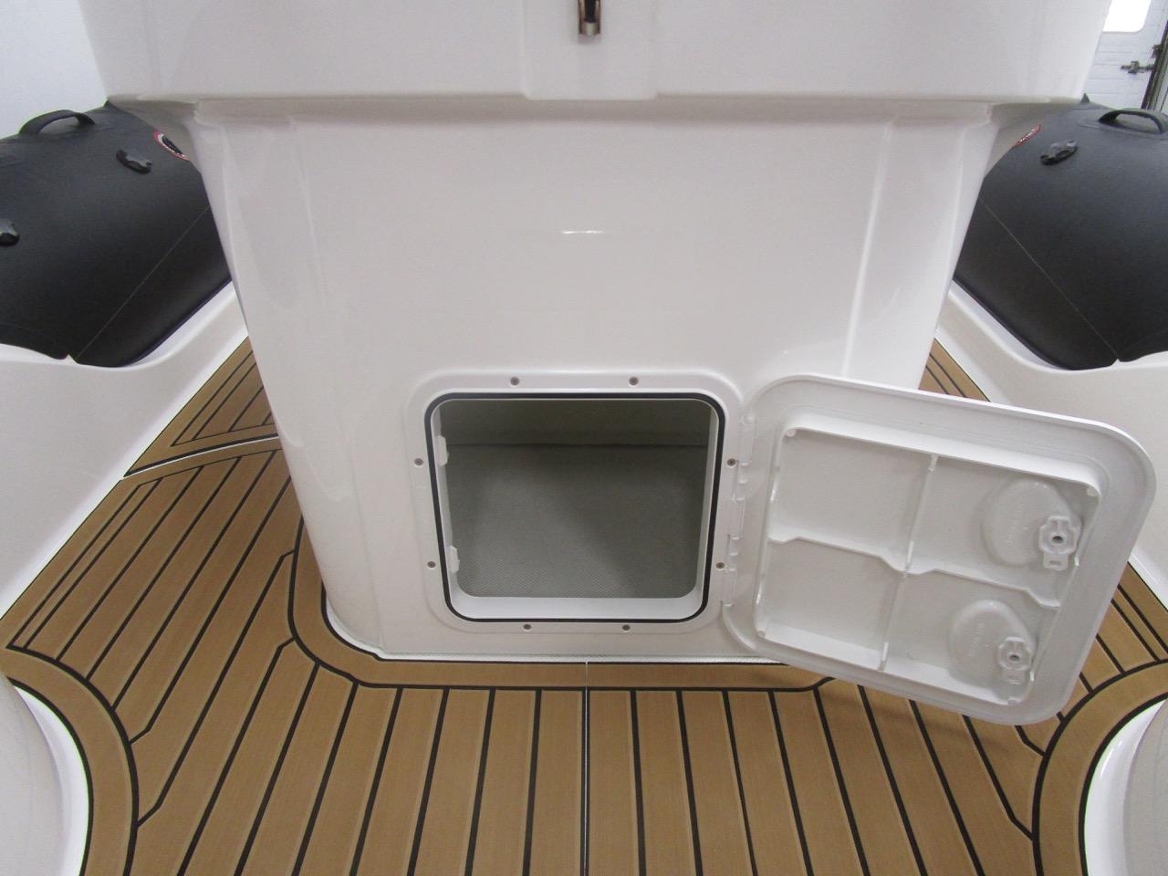 GRAND G850 RIB helm seat lower locker open