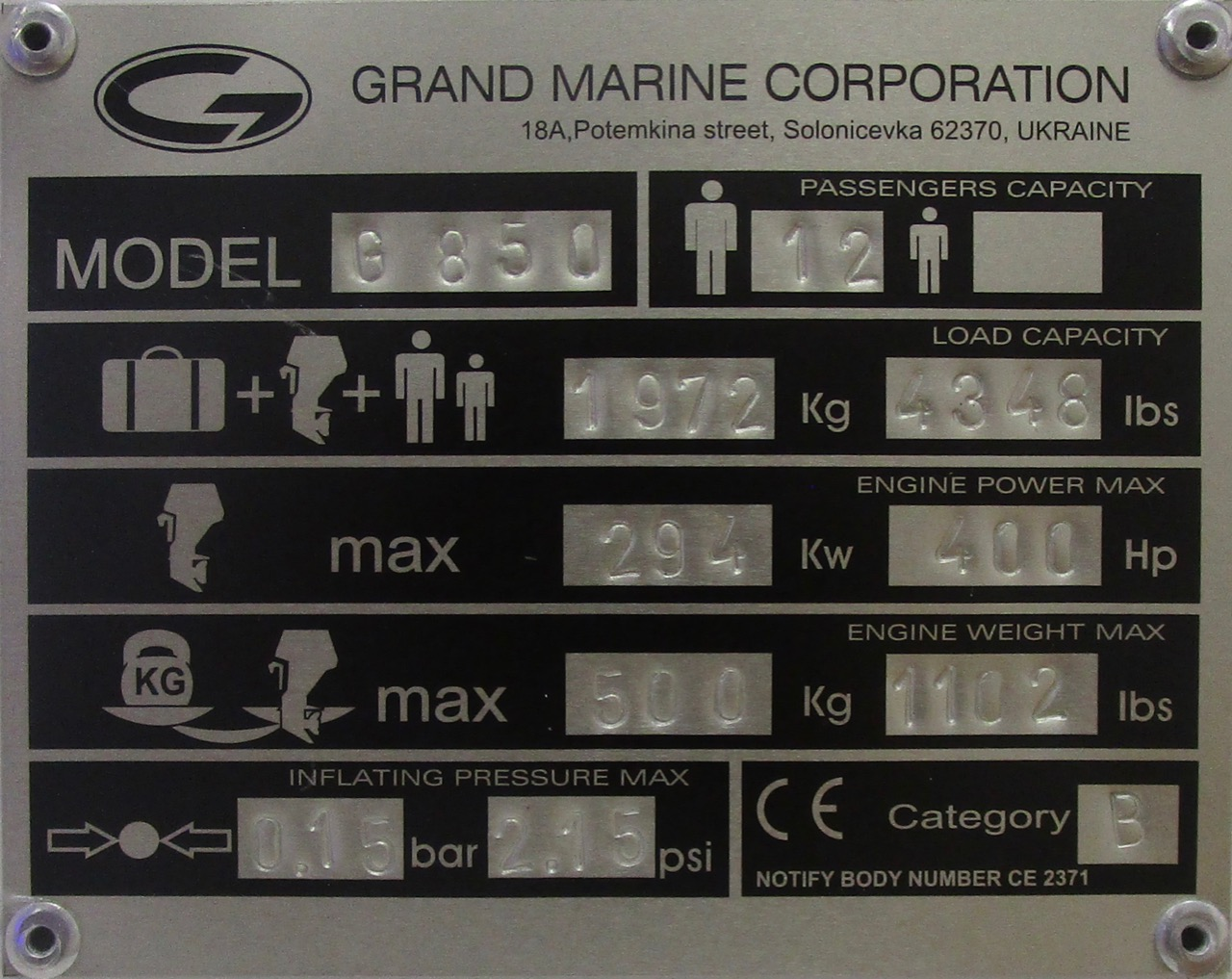 GRAND G850 CE plate