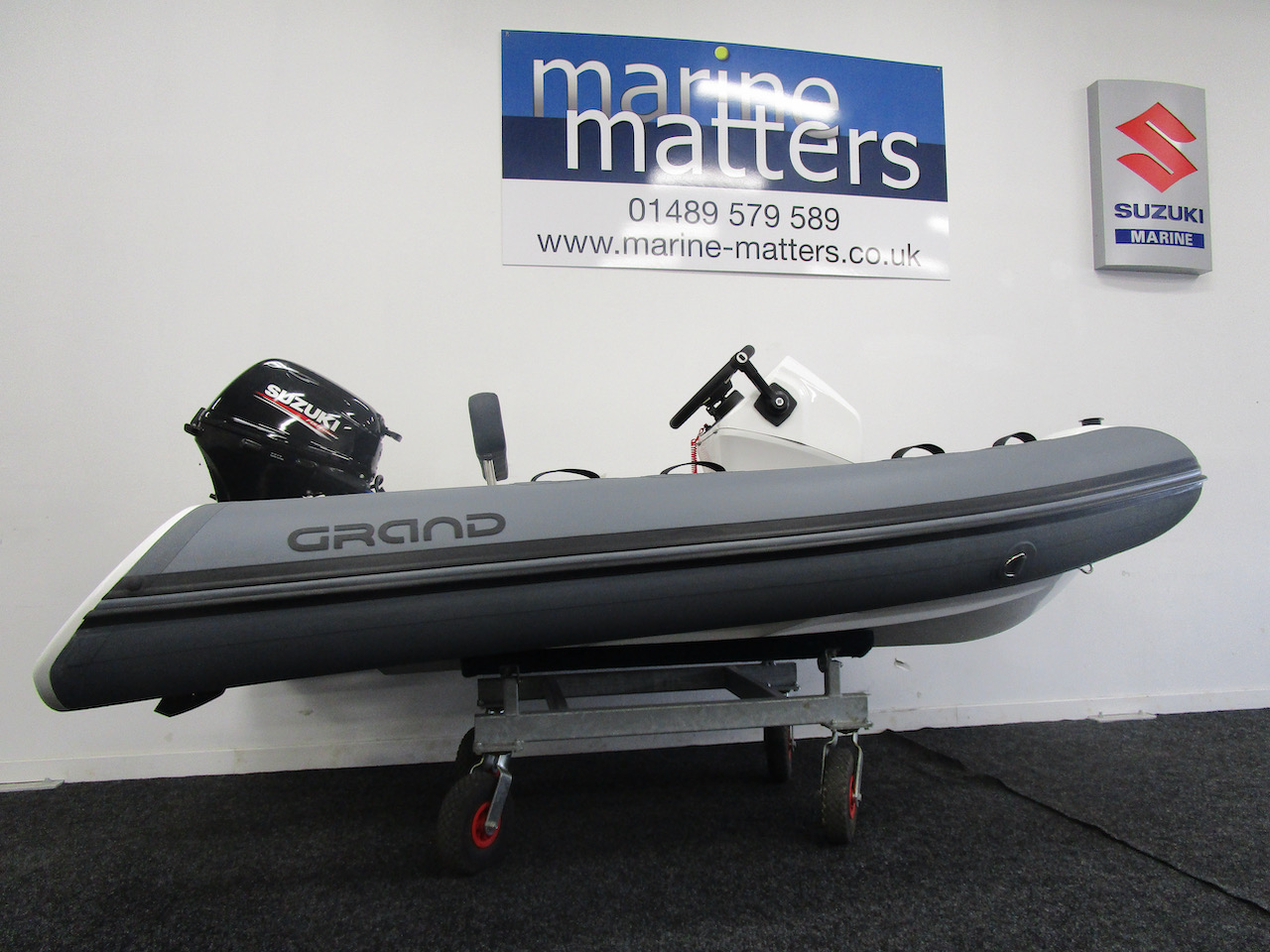 GRAND S330 RIB tender stbd  view and Suzuki DF20ATS outboard