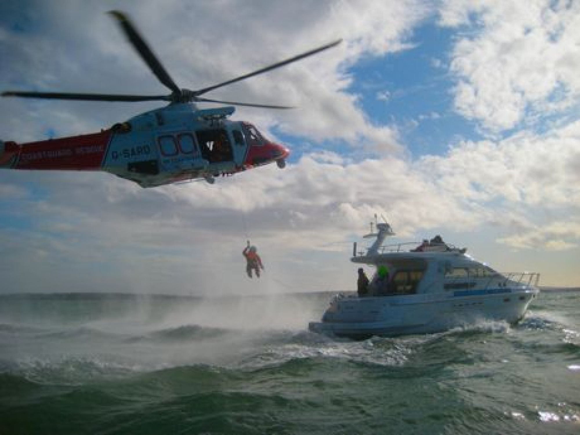 RYA Yachtmaster students on our 45' flybridge motor cruiser engaged in helicopter rescue drills